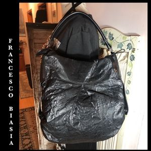 FRANCESCO BIASIA BLACK FABRIC/LEATHER TRIM BAG